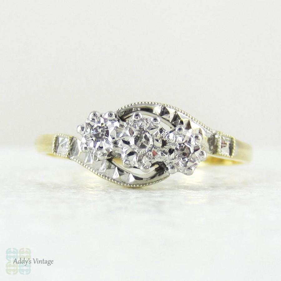 Art Deco Trilogy Diamond Engagement Ring Twist Design Three Stone