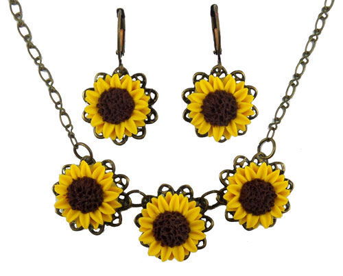 Wedding - Three Yellow Sunflowers Jewelry Se