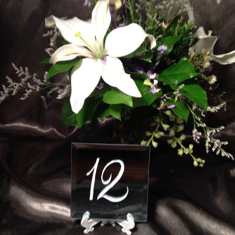 """Hochzeit - Mirror Wedding Table Numbers, 6"""", Hand Painted, assort. Shapes/Colors and Customizable"""
