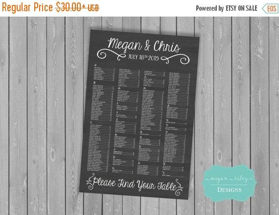 Hochzeit - Fall Sale Printable Chalkboard Wedding Seating Chart /Printable/DIY