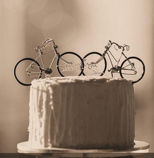 Hochzeit - Handmade wire bicycle Wedding Cake Toppers