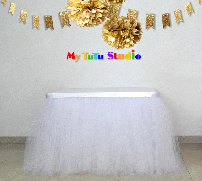Hochzeit - White Tulle Table Skirt Table TuTu for White and Gold Party, Baby Shower, Birthday, Kid Party, Wedding, Bridal Shower TSK01006