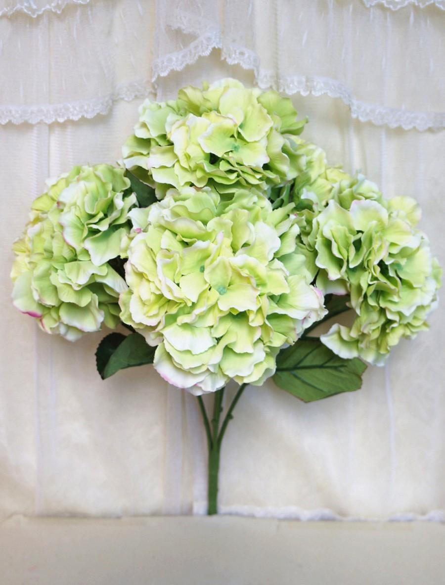 "Mariage - JennysFlowerShop 18"" Super Soft Silk Hydrangea Artificial Flower Bush (5-stem, 5-mop Heads), with No Pot Green"