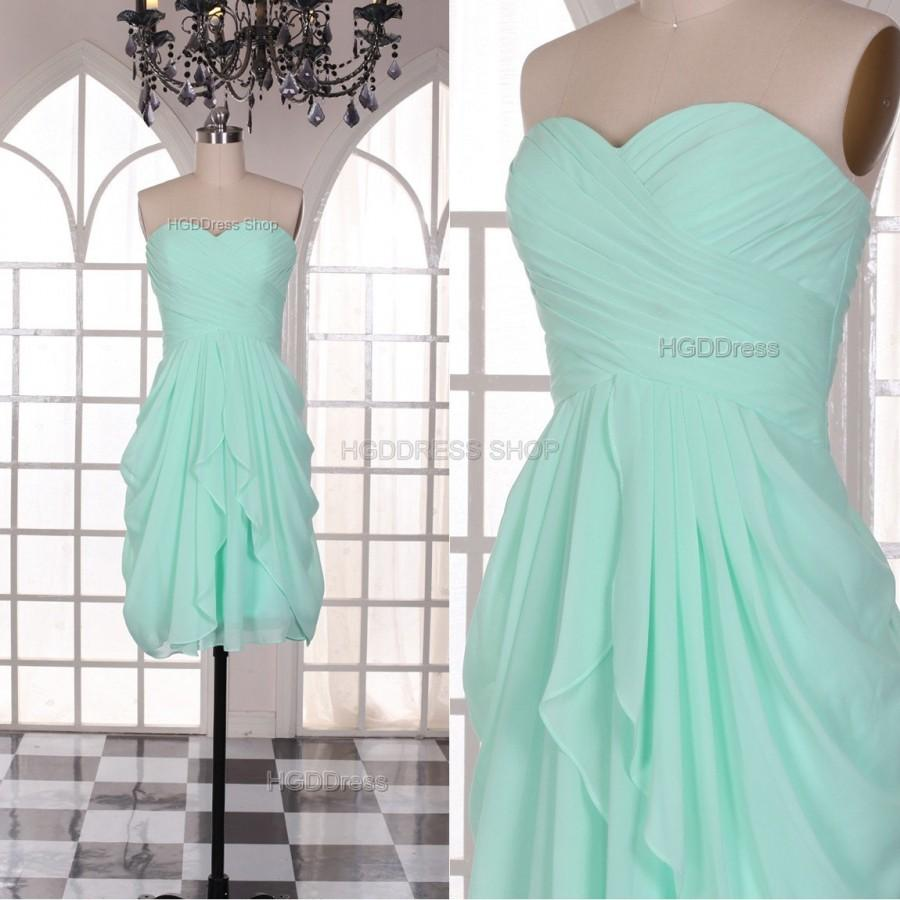 Mint Prom Dresses Fashion Short Bridesmaid Dress Short Sleeveless ...