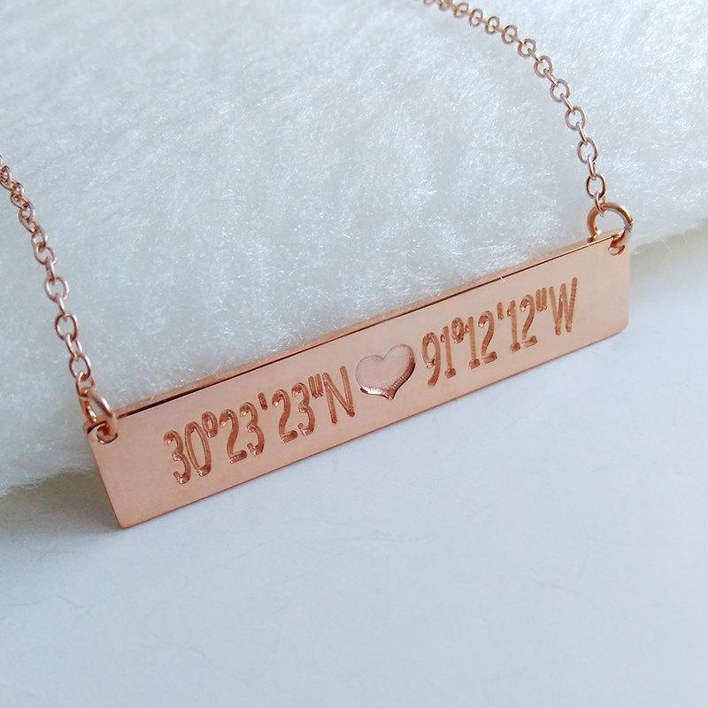 rose gold bar necklace custom name ecklace coordinates necklace