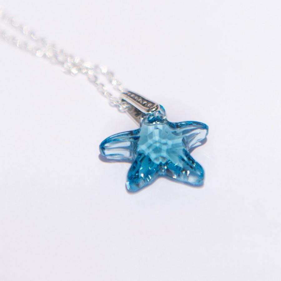 Wedding - Sterling Silver Necklace for Women, Summer Jewelry, Swarovski Blue Necklace, Silver Womens Jewelry, Blue Starfish Jewelry