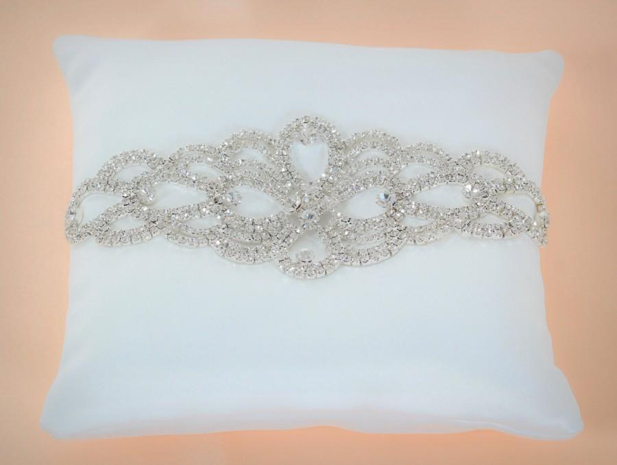 """Hochzeit - Fiery Crystals, Wedding Ring Pillow, 6""""x 6"""", Ivory Ring Bearer Pillow"""