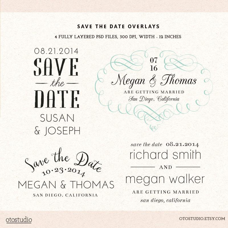 Wedding - Photoshop Save the Date overlays wedding photo cards - psd templates