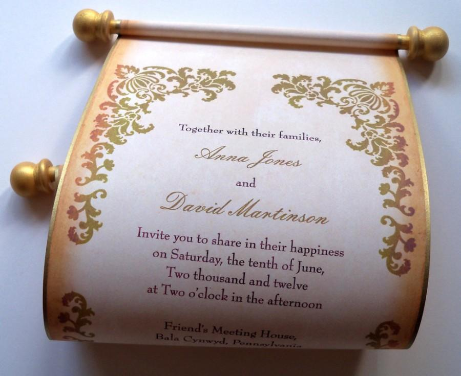 Wedding - Rustic wedding invitation, wedding invitations, scroll invitation, boxed wedding invitation scroll, gold and brown SAMPLE
