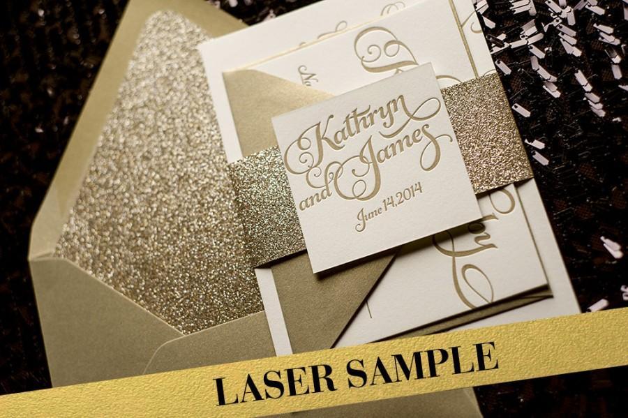 Wedding - Gold Wedding Invitation, Gold Glitter Wedding Invite, Calligraphy Invitation, Gold Invitation - Laser Sample Set