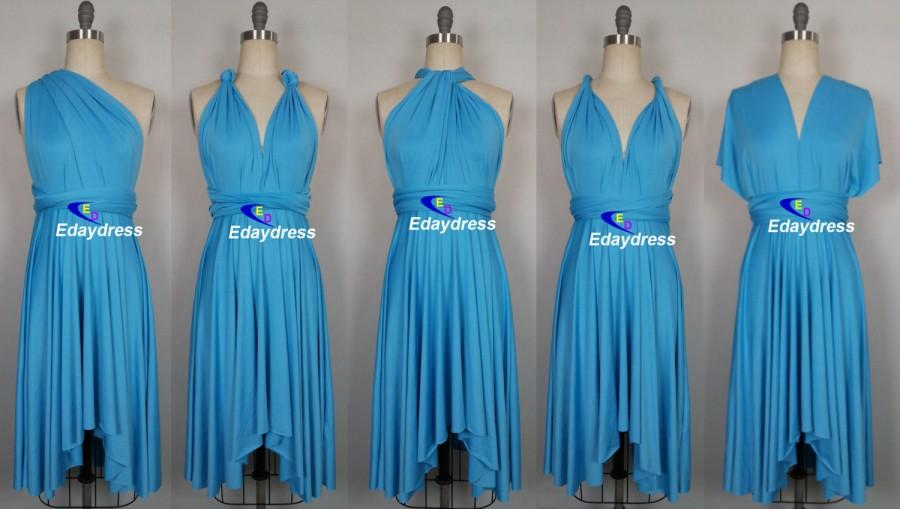 Wedding - Summer Day Multi Way Bridesmaid Dress Infinity Dress Turquoise Blue Short Knee Length Wrap Convertible Dress Wedding Dress Evening Dresses