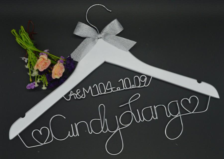 Wedding hanger wire name hanger personalized custom for Personalized wire wedding dress hanger