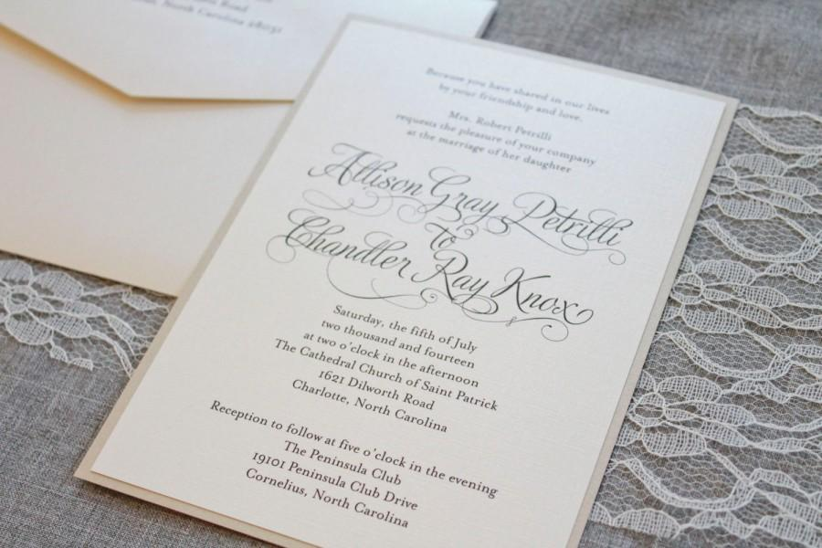 Mariage - Shimmery Gold Formal Wedding Invitation - Romantic, Simple, Ivory, Traditional  - Allison and Chandler - Custom Designs