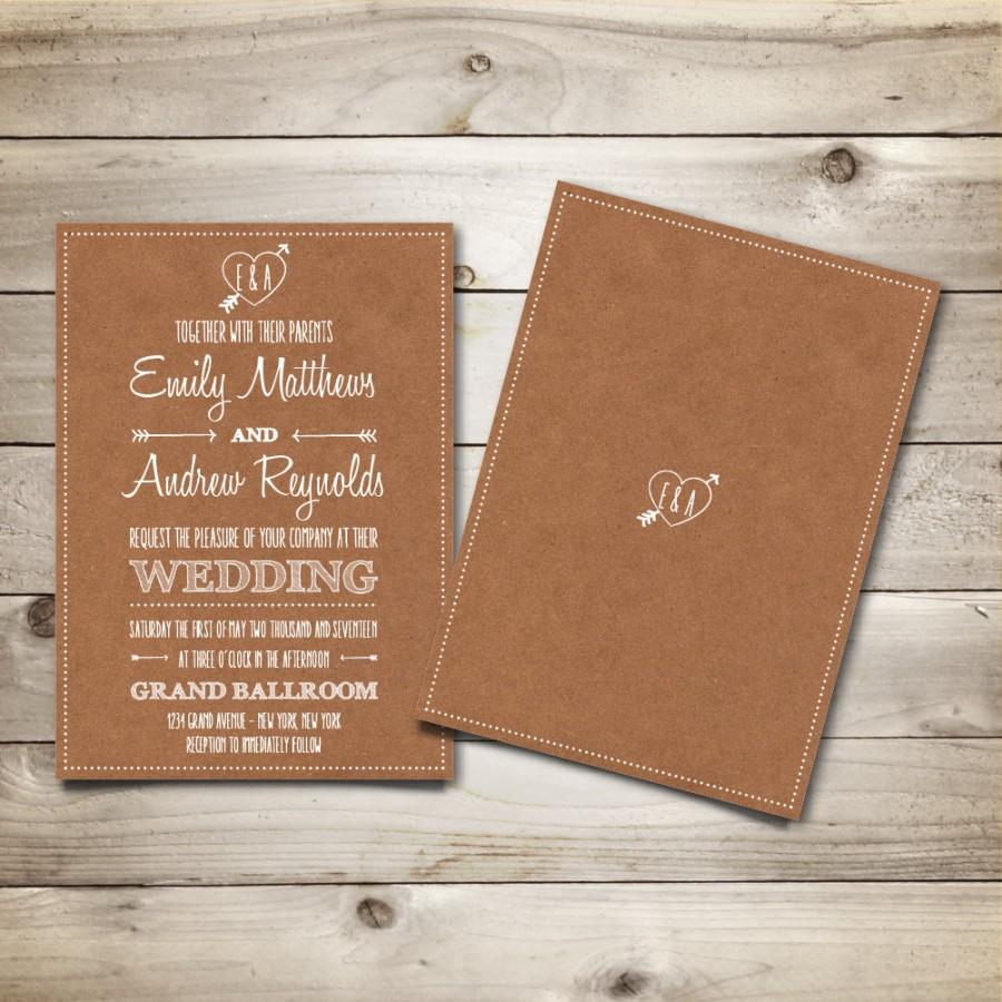 printable vintage style wedding invitation template brown white instant download editable ms word doc cupids dart collection - Vintage Style Wedding Invitations