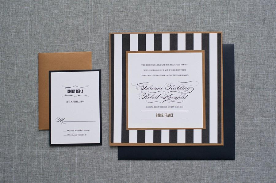 Hochzeit - Bold Wedding Invitation - Black and Gold Roaring 20's Inspired, Formal, Unique - Custom Colors - Julienne and Robert