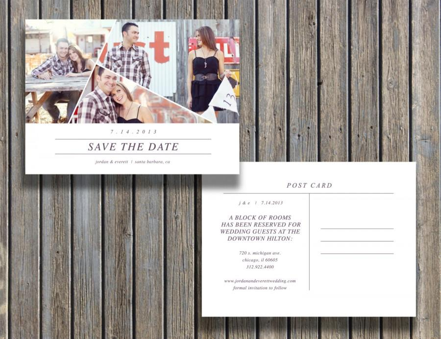 Save The Date Vintage Postcard Template -5X7 Customizable Card