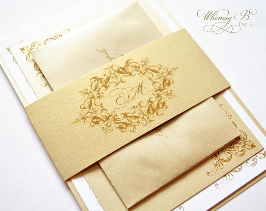 زفاف - Gold Wedding Invitations, Gold, Champagne, Victorian Wedding Invitations, Elegant, Vintage, Gold Invitations, Gold Wedding