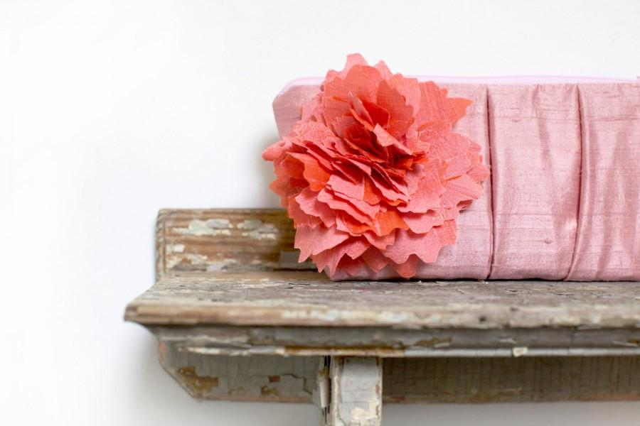 Mariage - Coral pink wedding clutch, personalized bridesmaids clutches, mother of the bride