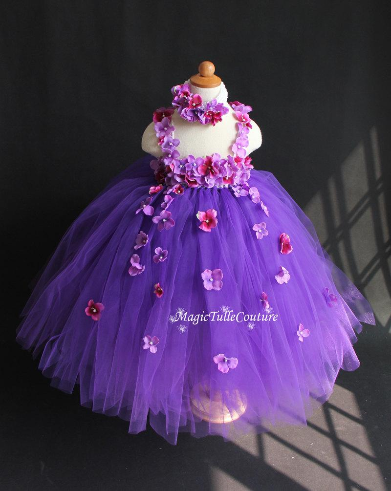 Mixed Purple Flower Girl Dress Hydrangea Tutu Tulle Toddler Birthday Party With A Matching Headpiece