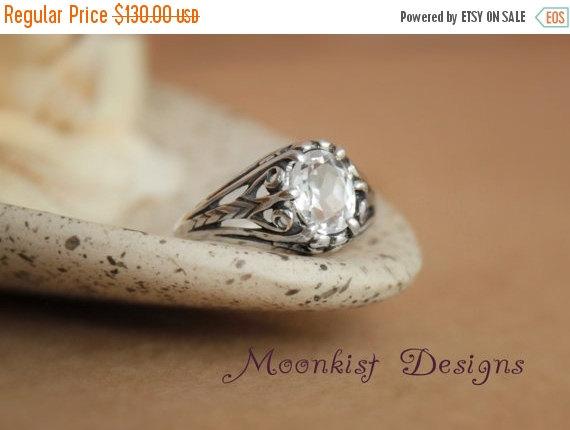 زفاف - ON SALE Victorian Filigree Oval White Sapphire Engagement Ring in Sterling Silver - Filigree Wedding Ring or Promise Ring - Diamond Alternat