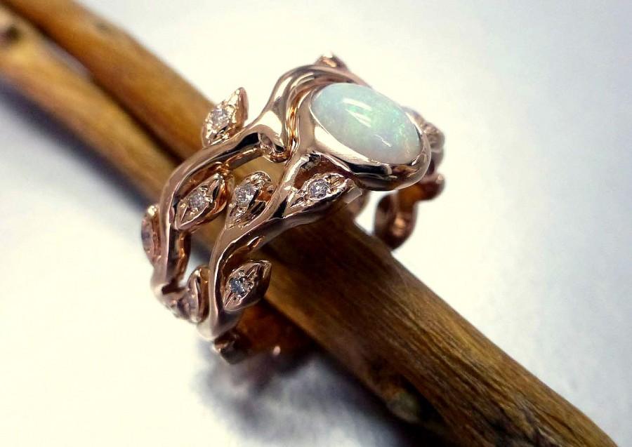 زفاف - Engagement ring with opal and diamonds.  Leaf engagement ring set.  14k rose gold.