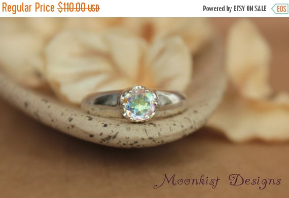 Wedding - ON SALE Opalescent Topaz Artisan Solitaire Engagement Ring in Sterling - Silver Rainbow Promise Ring or Commitment Ring - Diamond Alternativ