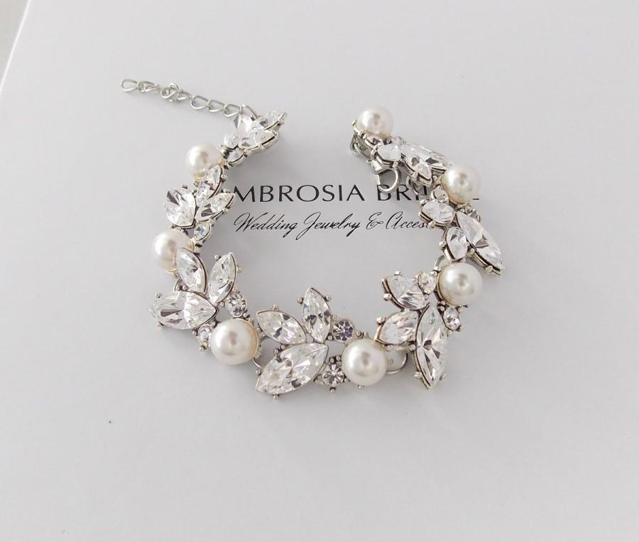 Wedding Bracelet Bridal Swarovski Crystals Pearls Leaf Pearl Crystal Juniper