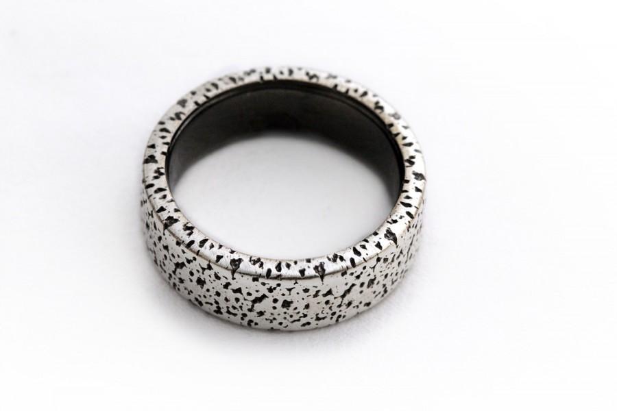زفاف - Unique Wedding Band -Promise ring-Sterling silver wedding band ring--Men's Wedding Band-Textured band -Organic ring-personalized ring