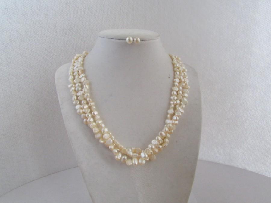 زفاف - SALE 15% OFF-Set of White Pearl Necklace,Pearl Stud Earrings,Pearl Necklace,Pearl Earrings,Pearl Necklace,Pearl Was 22.99 Now 19.99