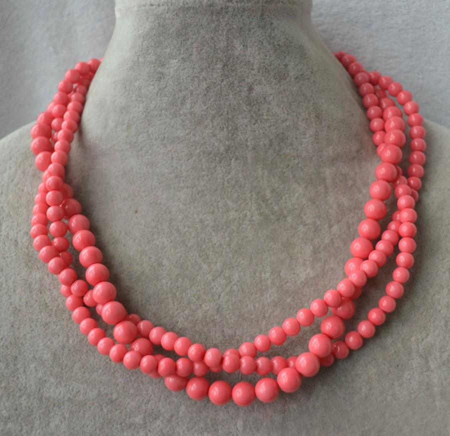 زفاف - pink coral bead necklace, 3 strands coral pearl necklace, statement necklace, twist necklace, coral necklace, pink coral necklaces,wedding