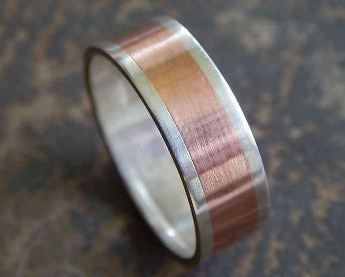 rustic silver copper wedding band men 39 s wedding band