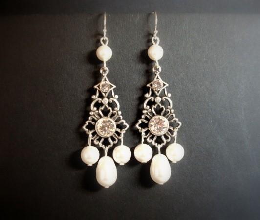 زفاف - Bridal chandelier earrings, wedding earrings, wedding jewelry, pearl earrings, antique earrings, Swarovski clear crystals, Swarovski pearls