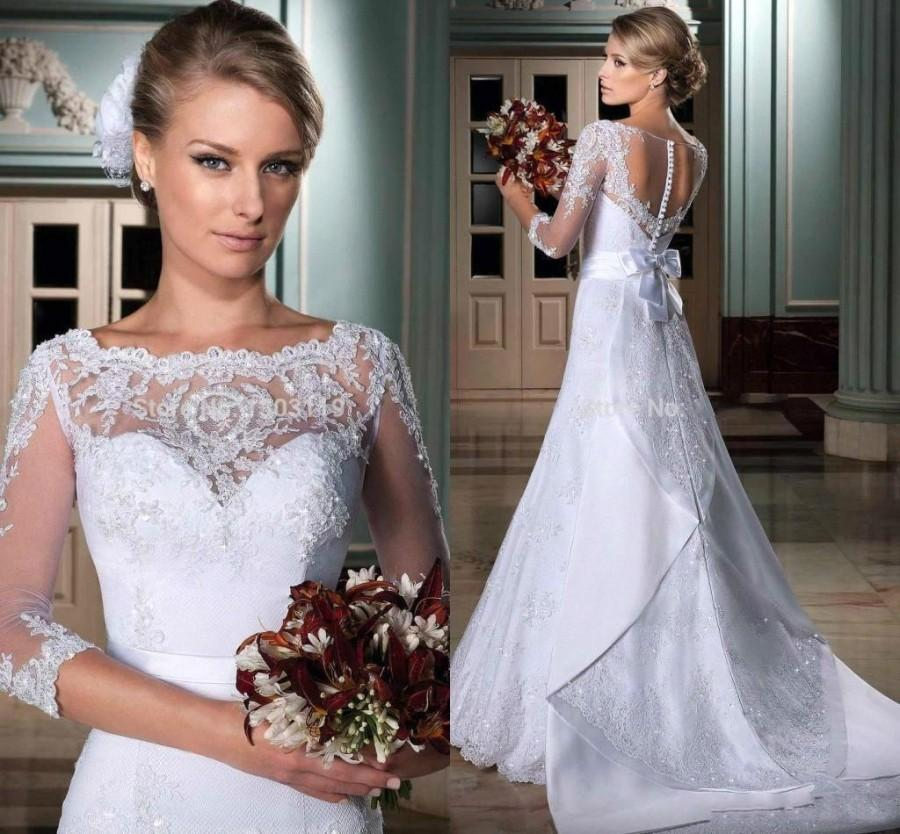 Wedding - New Style Lace 2015 A-Line Wedding Dresses Covered Button Applique Sheer Chapel Train 3/4 Long Sleeves Bridal Gowns A-Line Wedding Ball Online with $125.5/Piece on Hjklp88's Store