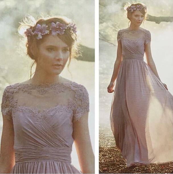 Fashion Grape Purple Chiffon Long Bridesmaid Dress 2015 A Line