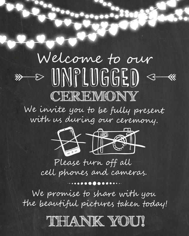 Unplugged Ceremony Wedding Sign Unplugged Wedding Sign