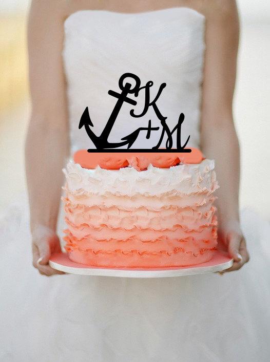 Свадьба - Personalized Anchor Wedding Initials Cake Topper Monogram cake topper Personalized Cake topper Acrylic Cake Topper