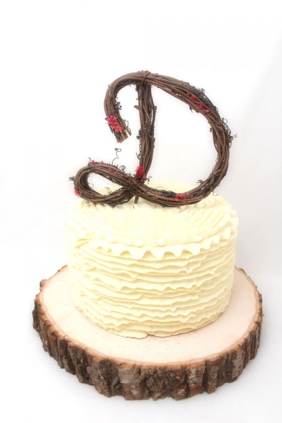 Wedding - Rustic Wedding Cake Topper - Personalized Grapevine Letter - Script