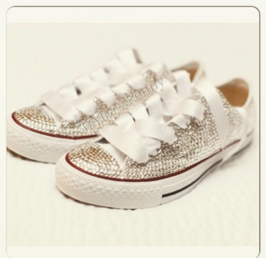 dcf184309296 Wedding Converse  Bride Sneakers  Swarovski Converse  Bridesmaid Converse   Embellished Converse  Bride Shoes