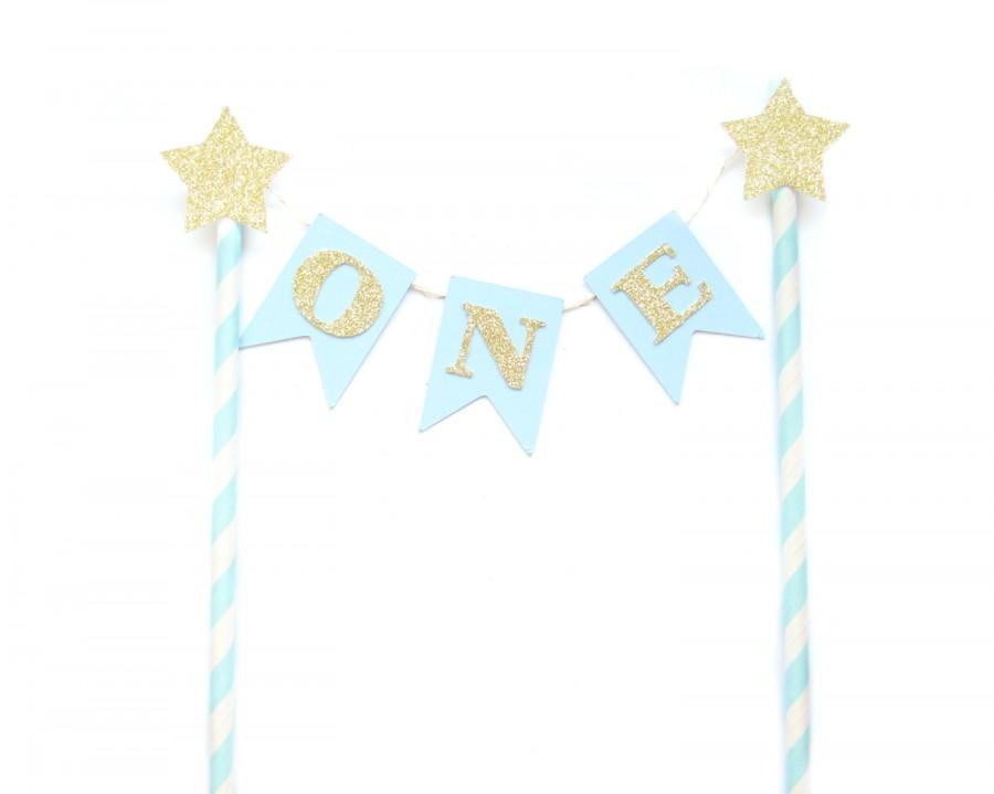 Blue Gold Birthday Cake Topper