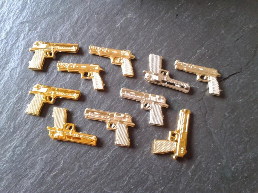 Mariage - 10 JAMES BOND mini gold 007 spy guns thug life DIY Walking Dead table confetti wedding birthday cake toppers party carnival toy prize supply