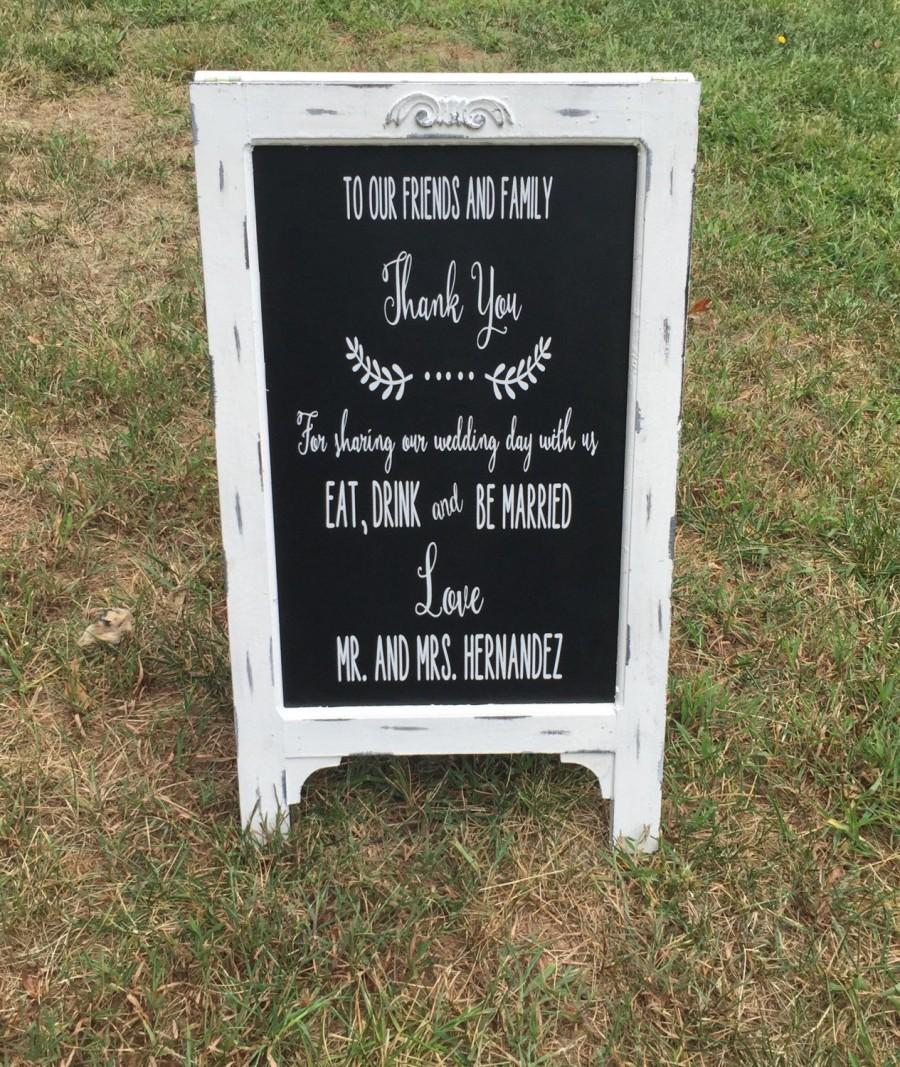 زفاف - Wedding Easel, rustic chalkboard, vintage, Distressed, customization available