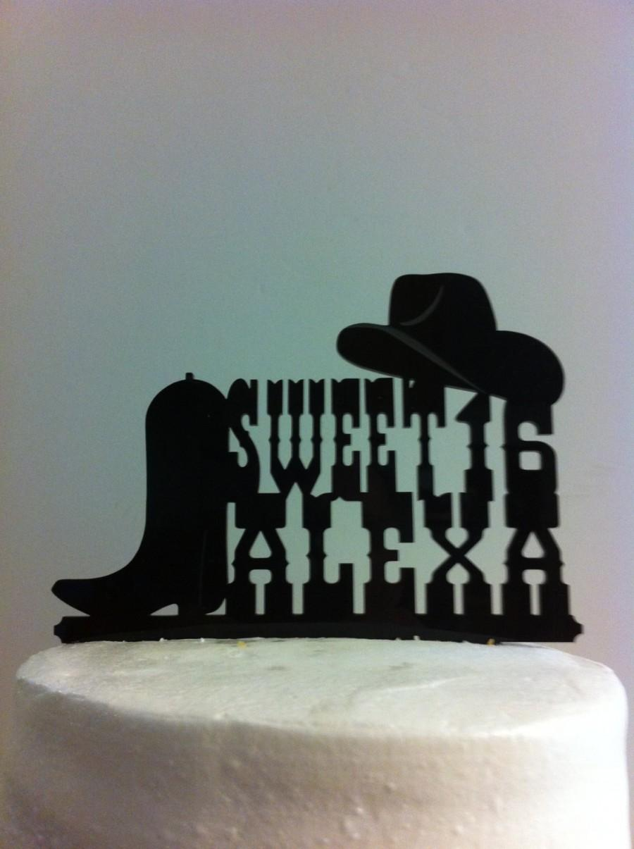 Sweet 16 Rustic Country Western Font Hat And Boot Custom First Name Birthday Cake Topper