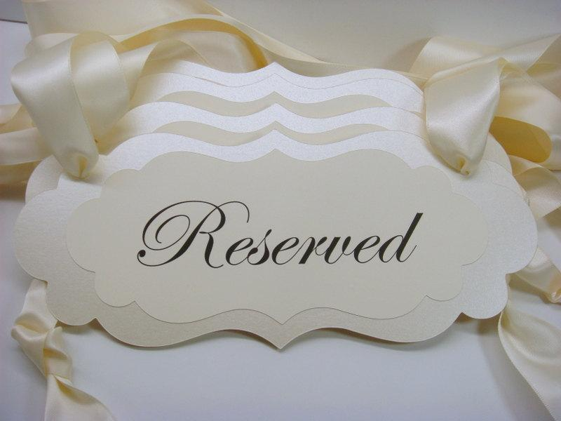 Wedding Decor Signage Ceremony Pew Signs For Your Reserved Seating During Prepared In Colors