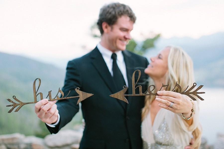 Mariage - Wedding Chair Signs: his and hers arrows
