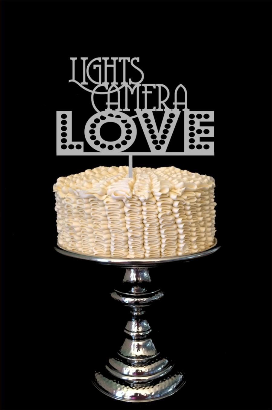 Mariage - Wedding Cake Topper Lights Camera LOVE Wood Custom Color Retro Movie