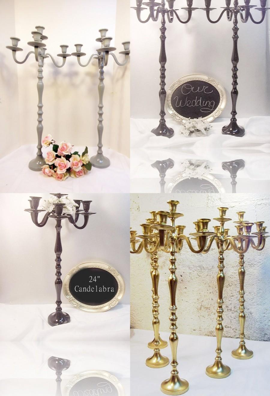 "Wedding - 10 Wedding Candle Candelabra 5 arm Shabby Candle Holder 26"" tall MADE TO ORDER"