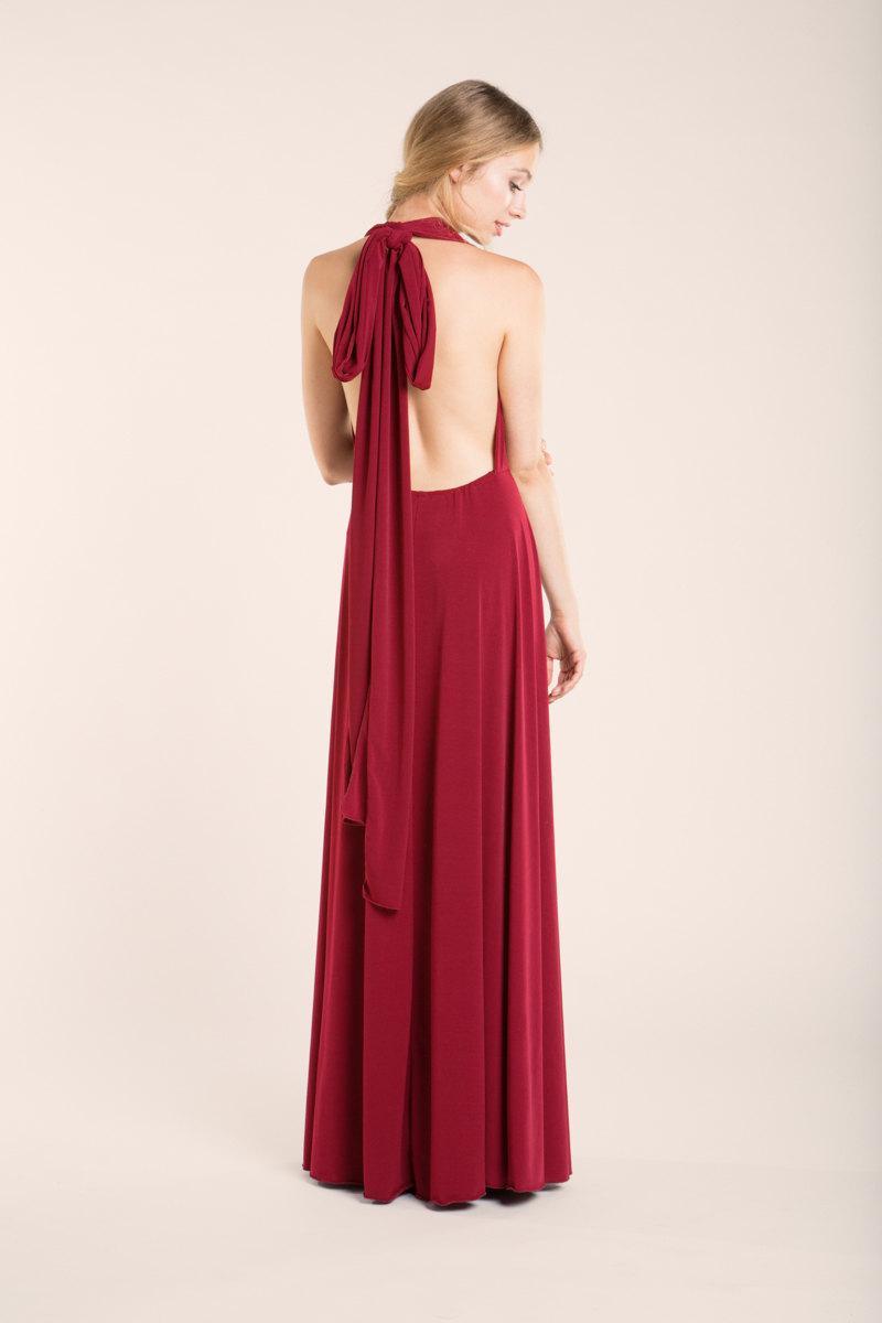 Long convertible red dress