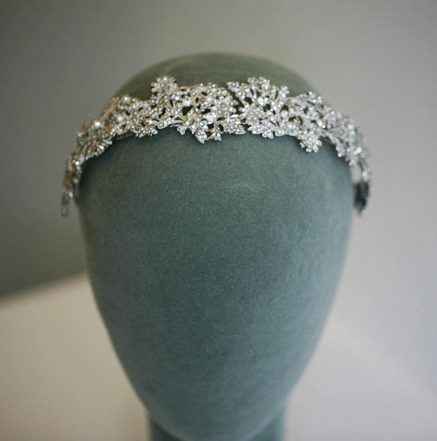 Hochzeit - SALE ~ Wedding headpiece LILAH  - Macro pave crystal headpiece, Bridal headband, Tiara, Rhinestone headband, Wedding hair accessory