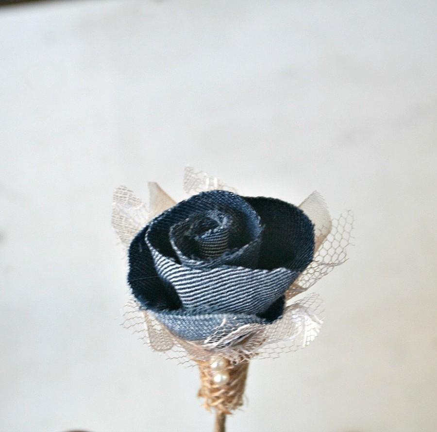 Mariage - Lace and Denim Flower Wedding Boutonniere - Corsage, Bridal, Champagne Lace, Blue Denim, Champagne Organza, Navy - Groom, Groomsmen, Wedding