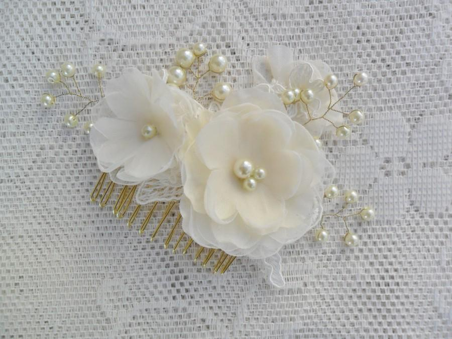 Mariage - Bridal Hairpiece, Gold & Pearl Hair Comb, Wedding Hair Accessory,Floral Hairpiece, Bridal Hair Comb,Lace Hair Comb,Your Choice (gold/silver)